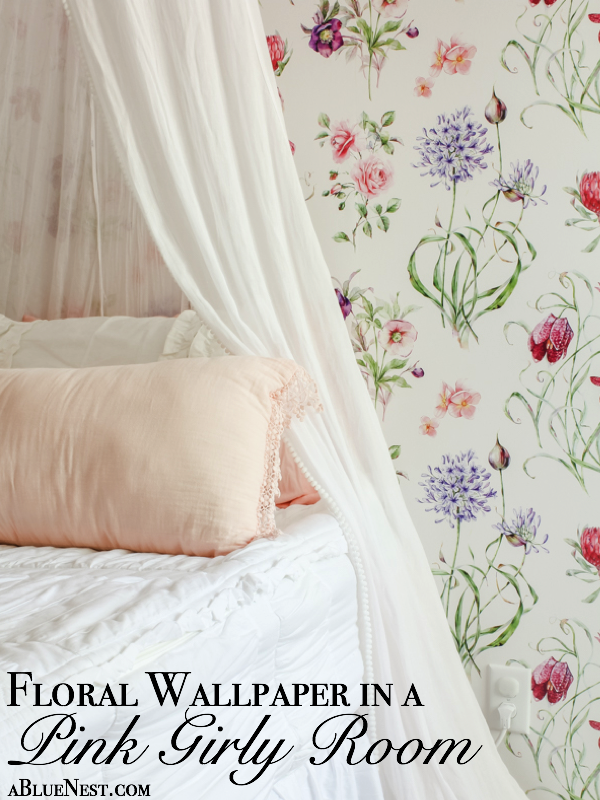Floral Wallpaper In A Girly Pink Room A Blue Nest
